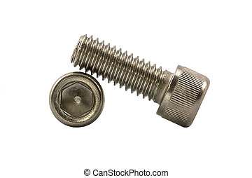 Socket cap screw. - Closeup socket cap screw isolated on...