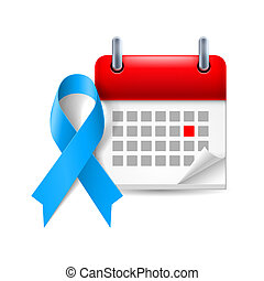 Blue awareness ribbon and calendar with marked day. Colon...