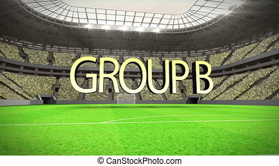 Group B world cup animation in stadium with text
