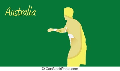 Australia world cup 2014 animation with player in green and...