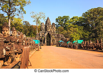 Gate of angkor thom in cambodia