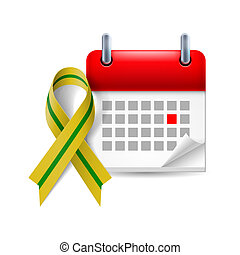 Olive-green awareness ribbon and calendar with marked day....