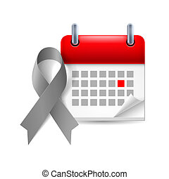 Gray awareness ribbon and calendar with marked day Diabetes,...
