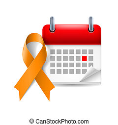 Orange awareness ribbon and calendar with marked day. Animal...