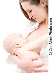 bebê, pequeno, alimentação, menina, peito