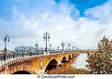 Bordeaux, France Europe - Old stony bridge in Bordeaux,...
