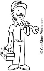 Mechanic Line Art - Repairman in uniform holding a toolbox...