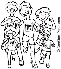 Marathon Kid Race Line Art - Children running together in a...