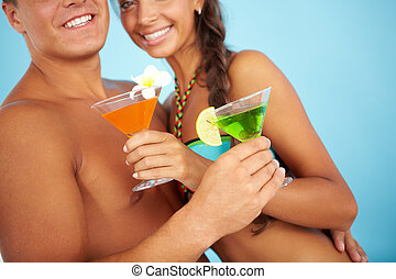 Cocktail party - Close-up of cute girl and handsome man with...