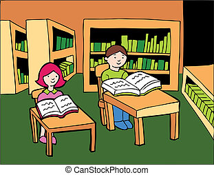 Children Library Reading - Boy and girl sitting at desks in...