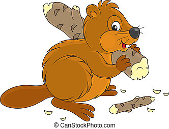 Beaver - Funny river beaver carrying a small log