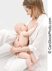 Breast feeding - Little baby breast feeding