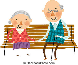 The view of old couple on the bench