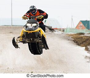 High jump of sportsman on snowmobile - Tyumen, Russia -...