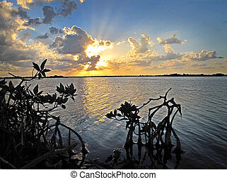 Sunset over the Lagoon - A beautiful sunset occurs on the...