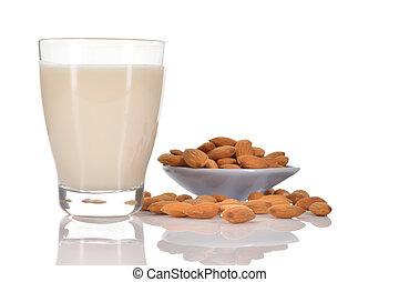Almond milk on white background - Almond milk as a...