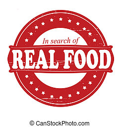 Real food - Stamp with text real food inside, vector...