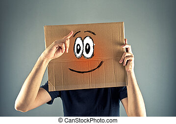Just realized - Man with cardboard box on his head with...