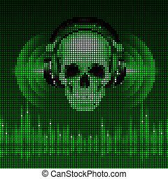 Skull in headphones. Disco background