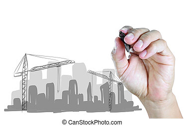 hand draw construction site on white background