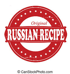 Russian recipe - Stamp with text Russian recipe inside,...