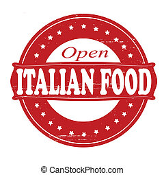 Italian food - Stamp with text Italian food inside, vector...
