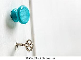 Closeup of an old door wardrobe knob and key hole. Empty...