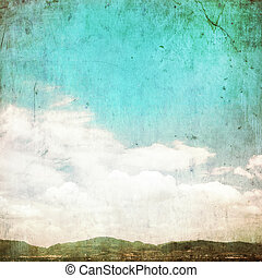 Clouds in summer blue sky - vintage edit