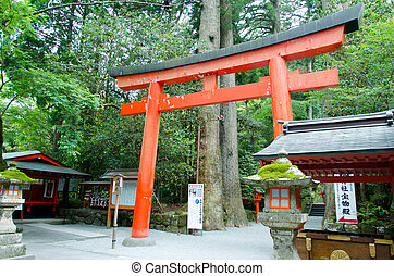 Hakone shrine - Entrance of the shrine Hakone in Japan