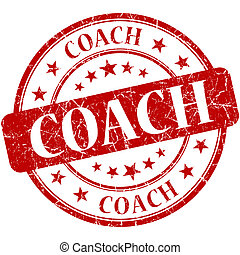 Coach red round grungy vintage rubber stamp