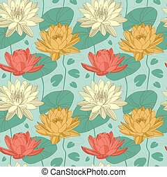Lotus flowers in seamless pattern - Lotus and water lily...