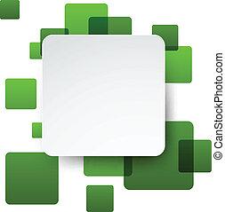 White paper label over green bubbles. - Vector illustration...