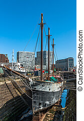 Liverpool Dry Dock - A sailing ship in dry dock at Liverpool...