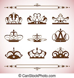 silhouettes Vector set of crown 003