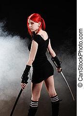 Sexy killer - Beautiful red hair girl with katana sword