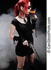 Mrs Dangereos - Sexy red hair woman with a gun and a...