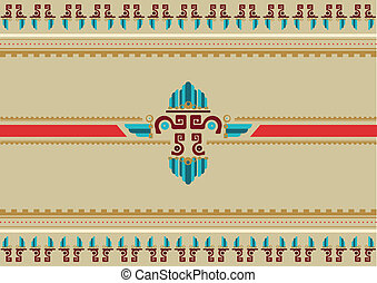 Mayan Aztec Border Decoration - A colorful seamless pattern...