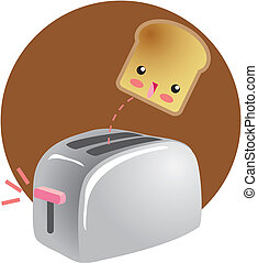 Cute Breakfast Jumping Toast - A kawaii drawing of a cute...