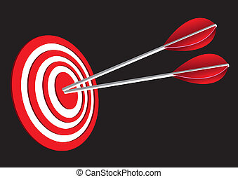 Red Target Board - Vector illustration of red target board...