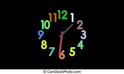 Clock8-45 - Motion background with spinning clock in 12 hour...