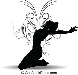 Funky Girl Silhouette - EPS 10 Vector illustration of Funky...