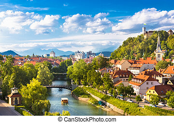 Panorama of Ljubljana, Slovenia, Europe. - Cityscape of the...