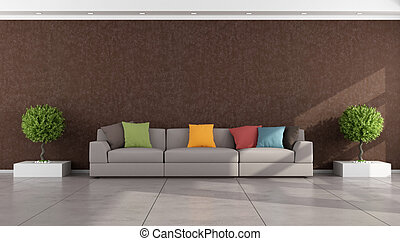 Brown modern living room with colorful sofa - rendering