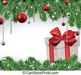 Christmas background with fir branches and gift box -...