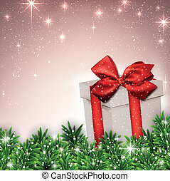 Christmas background with fir branches gift box.