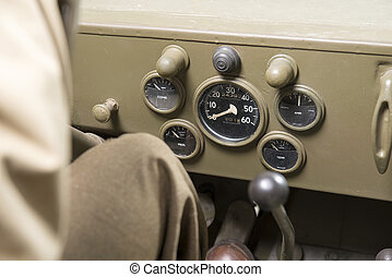 dashboard of a military vehicle