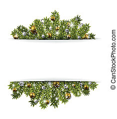 Christmas background with fir branches and balls. -...