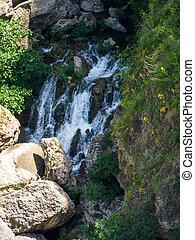 Waterfall below the New Bridge at Ronda Spain