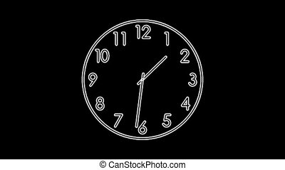 Clock8-51 - Motion background with spinning clock in 12 hour...