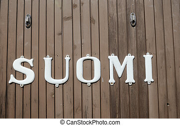 vintage inscription on the railway carriage Suomi - vintage...